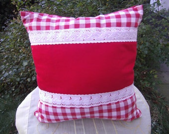 decorative red white  Cushion  red white checkered Pillow, Decoration, Women, Boho, College, Home, 16x16 inch
