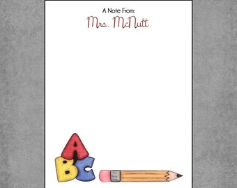 Colorful ABC Pencil Notepad - Personalized Custom Teacher Notepads - Whimsical, Elementary School Theme -Design: Camila