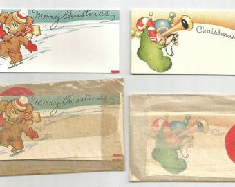 Vintage Christmas Gift Tags Two Packs Total of Ten Tags Vintage Christmas Retro Christmas LOT 41
