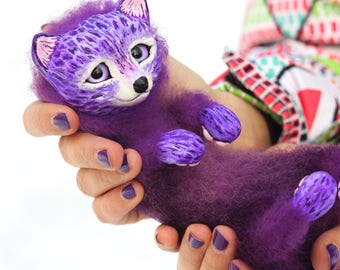 Art doll fox, polymer clay figurine, wool toy, ooak, interior home decor, felted, cute creature, Easter gift, purple, lilac foxy, poseable