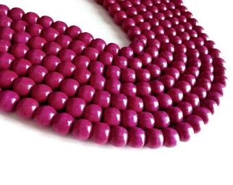 Raspberry Pink round Wooden Beads 12x11mm - 30pcs  #PB225C