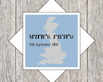 Personalised Location Card ~ Love Card ~ Wedding Card ~ Anniversary Card ~ GPS Coordinates Card ~ Longtitude,Latitude Card ~ Valentine Card