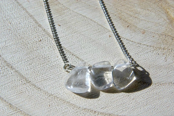 Crystal Bar Necklace on 925 Silver, Crystal Gemstone, Quartz Necklaces Jewelry, Gift for Her, Quartz Gemstone bar, Zodiac necklace