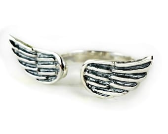 SALE! wings ring, silver wing ring, silver band ring, sterling silver ring, sterling silver band ring, solid silver ring, simple silver ring