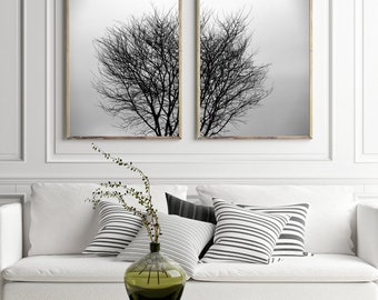 Tree Art Set of 2 Prints Nature Art Tree Print Large Wall Art Prints Black and White Minimalist Poster Download Scandinavian Print Printable