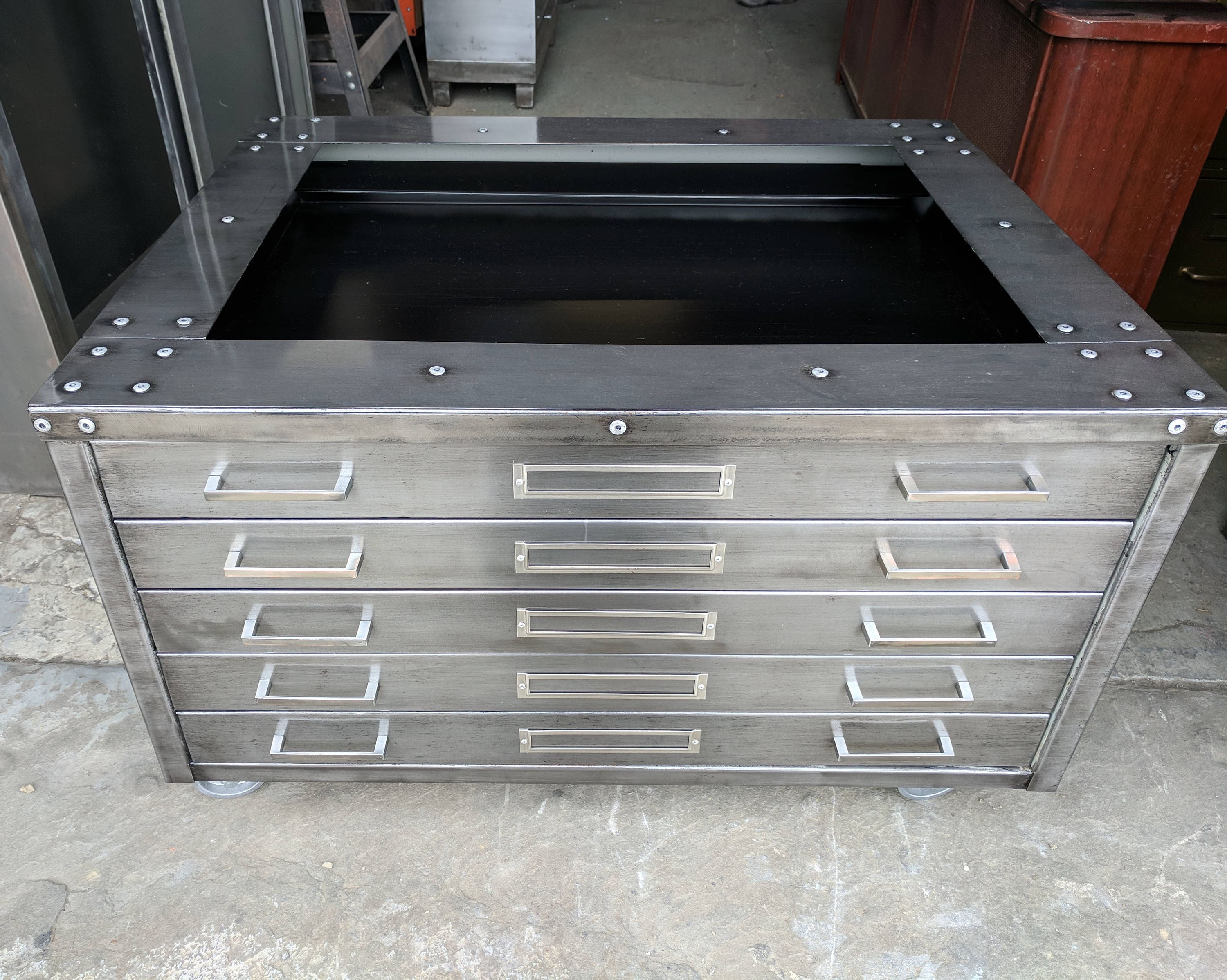 Dark Patina Brushed Steel Flat File Coffee Table