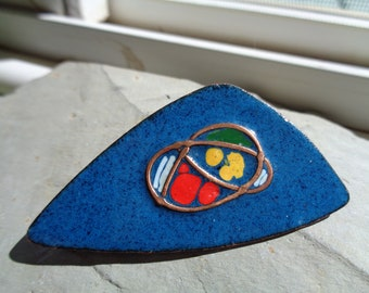 Vintage Abstract Copper and Enamel Brooch