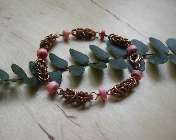 Insouciant Studios Pink Flame Byzantine Chain Bracelet
