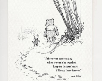I'll stay there forever - Pooh quote poster print based on illustration for the book Winnie the Pooh  #44