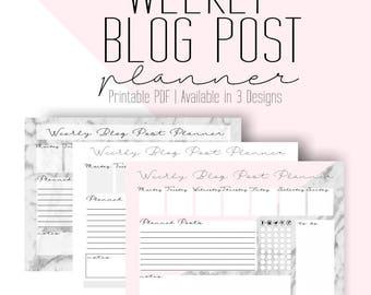 Weekly Blog Post Planner - 3 Designs - PDF Printable