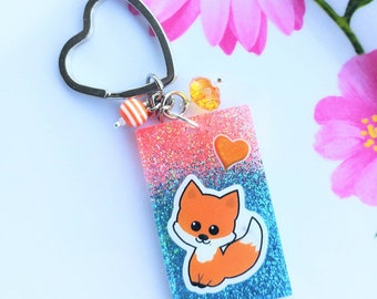 Cute Kawaii Fox Resin Keychain/glitter keychain/resin accessories