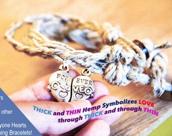 COUPLES Bracelets- 2 Beautiful matching bracelets, I Love You Bracelets, Through THICK and through THIN His and Hers bracelets