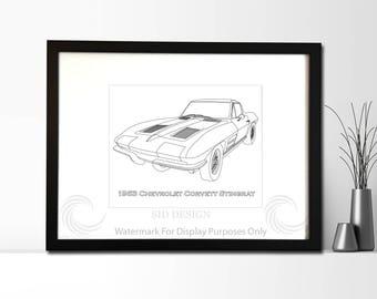 1963 Chevrolet Corvette Stingray Picture, Framed, Digital Art, Cars