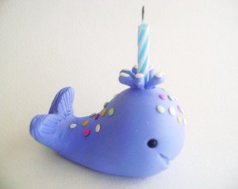 Blue Whale Cup Cake Topper Kids Birthday Cup Cake Design Handmade Clay Whale Decor