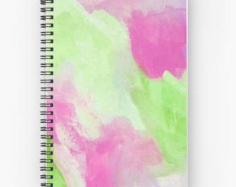 Spiral Notebook, Green Journal, abstract notebooks  - FREE Shipping