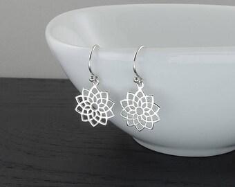 Earrings - Sterling Silver Crown Chakra Earrings, chakra jewelry, dangle earrings, hippie, buddhist, yoga jewelry, boho earrings