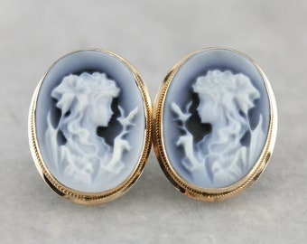 Lady With Bird Onyx Cameo Stud Earrings, Vintage Bridal Jewelry THAQQR5X-R