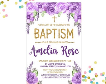 Floral Baptism Invitation - Purple Baptism Invitation - Christening Invitation - Girls Invitation - Gold Invitation