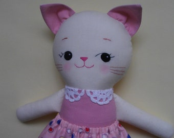 Cat Plush Doll - Handmade cloth doll kitty ragdoll - Made to Order