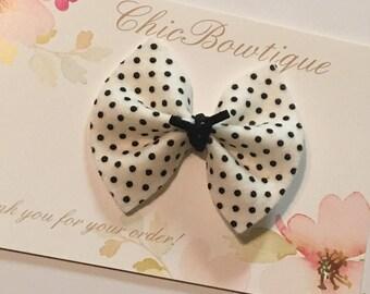 Black and White Polka Felt Mini Bow