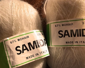 Three skeins Samida mohair and wool yarn, made in Italy, off-white