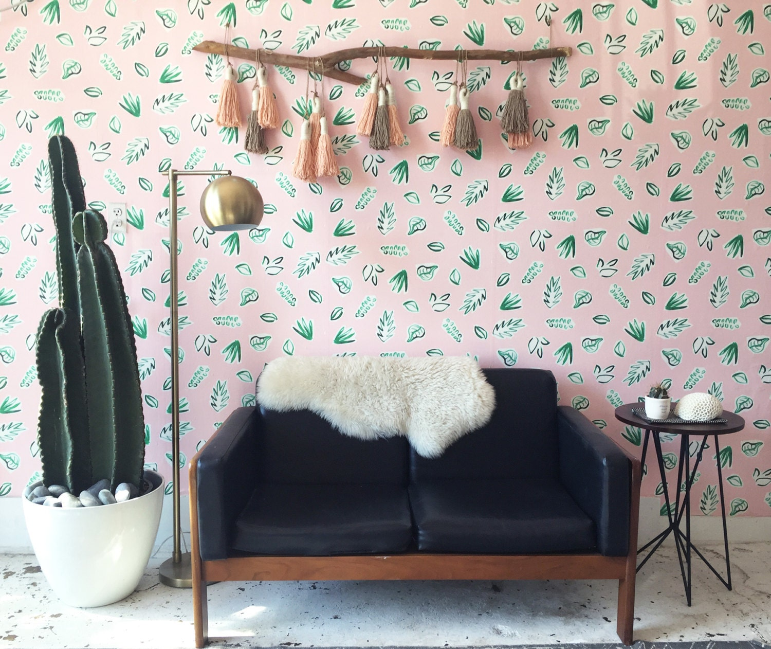 Wallpaper For Renters: Removable Wallpaper // Plants On Pink // Perfect For Renters