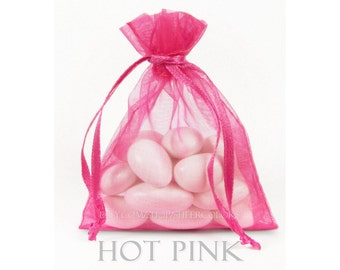 10 Hot Pink Organza Bags, 5 x 8 Inch Sheer Fabric Favor Bags
