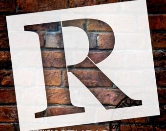 R -Monogram Letter Stencil - Select Size - STCL1731 - by StudioR12