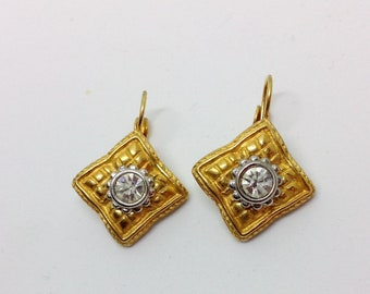 Vintage dangle earrings gold silver tone metal clear rhinestone