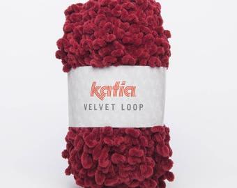 Ball of wool VELVET LOOP - Katia 106 bordeaux color