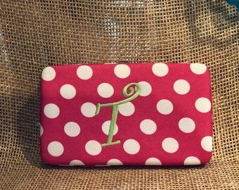 Hot Pink & White polka dot wallet