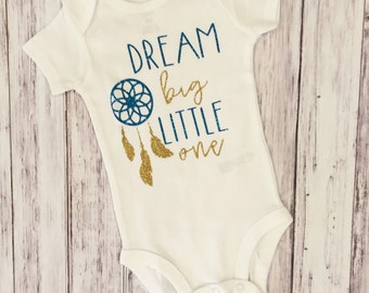 Dream big little one, dream big, bodysuit, baby  bodysuit, dream catcher, gold, gold glitter, personalized bodysuit