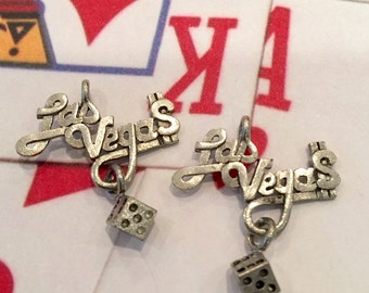 Las Vegas Dice Charm   - 4 pieces-(Antique Pewter Silver Finish)--style 605--
