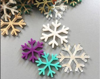 Snowflakes Mixed Color and Size Holiday Winter Laser cut acrylic Cab