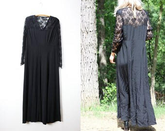 Vintage Black Lace Dress Long Sleeve Empire Waist Maxi Dress Medium