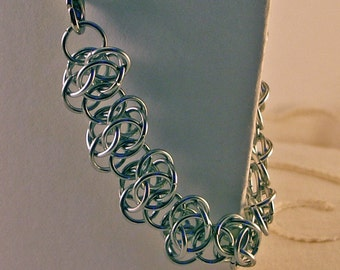 Chainmaille Bracelet In Bright Aluminum Feathery Light Weight And Intricate