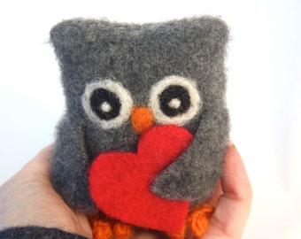 Gray the baby Owl with red heart love ... dark gray eco wool felted owl (1) (woolcrazy)
