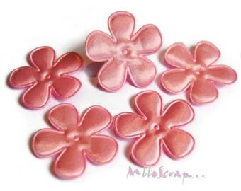 Set of 5 flowers fabric pink satin clear scrapbooking embellishment. (ref.310). *.
