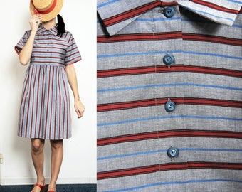 Pure cotton striped Smock Dress with Collar and Buttons [Camille dress/Blue-red]