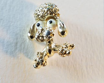 Vintage 1960 signed Gerry Big Eye Poodle Brooch