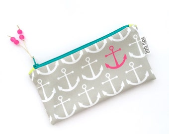 Grey Anchors Recycled Zipper Pouch, Eco Friendly Pencil Bag + Glass Bead Tassel, Handmade Stocking Stuffer, Bridesmaid Gift, Pink Organizer