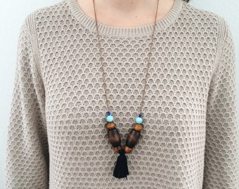 Adjustable beaded tassel necklace, long or short / wood turquoise large chunky beads recycled vintage black tassel strand choker statement