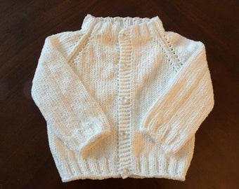 100% Cotton Handknit Baby Button Jacket White 0-6 MONTHS