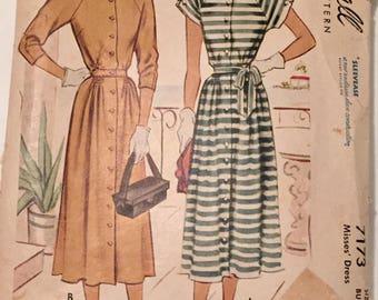 """Vintage 1940s McCall Misses' Dress Pattern 7173 Size 14 (34"""" Bust) UNCUT FF"""