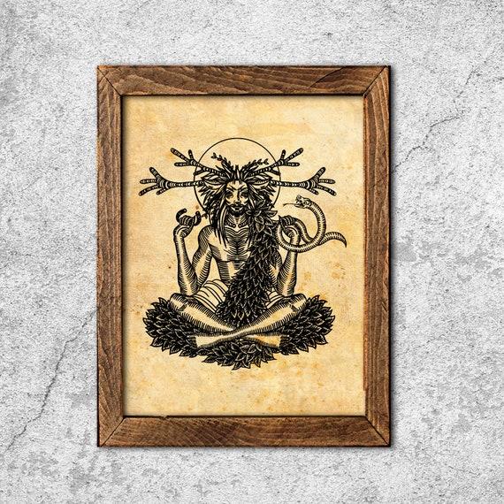 Cerrunos celtic Horned god print wicca illustration