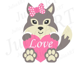 cartoon wolf with heart and bow vector image