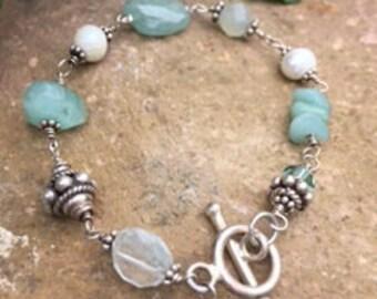 Aquamarine Pearl Sterling bracelet