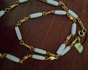 vintage Trifari Necklace white and gold