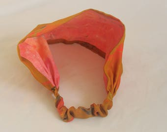 Girl's gold silk headband, orange and pink cotton headband. Reversible headband.