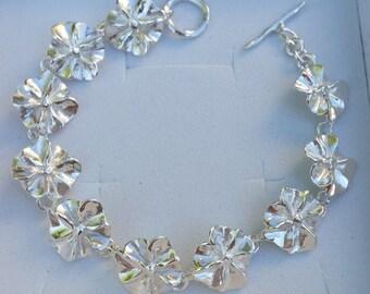 Flowers Silver Bracelet ,Silver Link Bracelet ,Sterling Silver Handmade Bracelet ,Women Silver Bracelet ,Friendship Bracelet ,Mother's Day